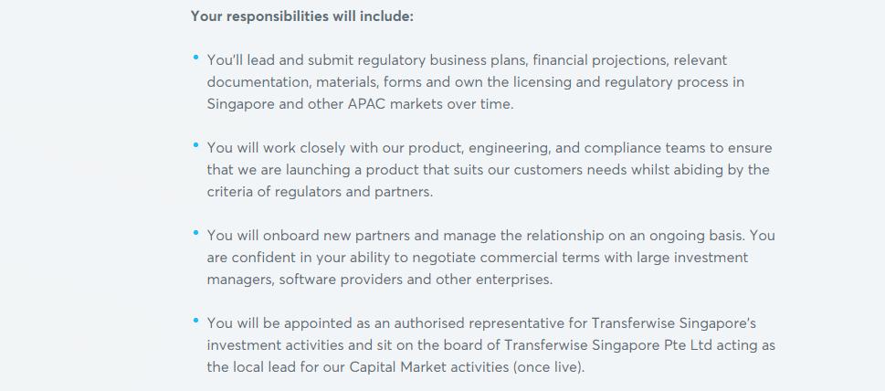 Transferwise's job responsibilities